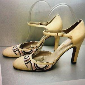 CHANEL ankle strap beige heels pumps sz 40